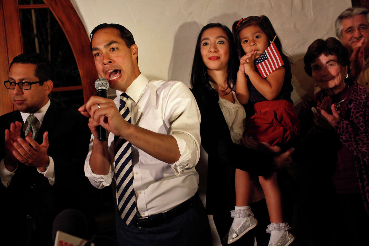 Mayor Julian Castro thanks his supporters and staff as results for the Pre-K 4 SA campaign come in during the election watch party at La Fonda on Main in San Antonio on Tuesday, Nov. 6, 2012. Standing with him are City Councilman Diego Bernal, from left, Castro's wife, Erica Castro and their daughter, Carina, Lila Cockrell and City Councilman Ray Lopez.