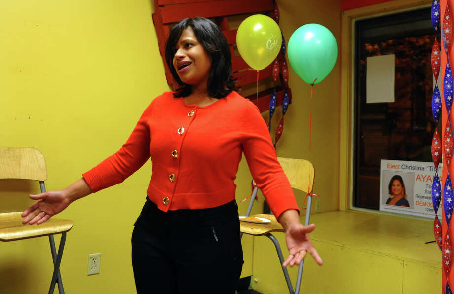 Christina Ayala speaks to family, supporters and campaign workers after winning the state representative seat in the 128th district, at Ayala's headquarters on East Main Street in Bridgeport, Conn. on Tuesday November 6, 2012. Photo: Christian Abraham / Connecticut Post