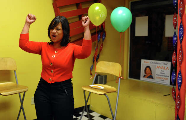 Christina Ayala cheers as she speaks to family, supporters and campaign workers after winning the state representative seat in the 128th district, at Ayala's headquarters on East Main Street in Bridgeport, Conn. on Tuesday November 6, 2012. Photo: Christian Abraham / Connecticut Post