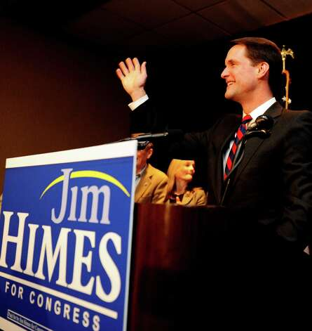 Congressman Jim Himes (D-4th) addresses supporters Tuesday, Nov. 6, 2012 at the Holiday Inn in Bridgeport, Conn. after defeating Republican Steve Obsitnik. Photo: Autumn Driscoll / Connecticut Post