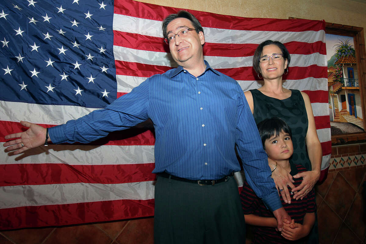State Representative Pete Gallego, D-Alpine, thanks his supporters while standing with wife Elena and son Nicolas at the election night watch party on November 6, 2012. Gallego is challenging U.S. Representative Francisco Canseco for his seat in the U.S. House District 23.