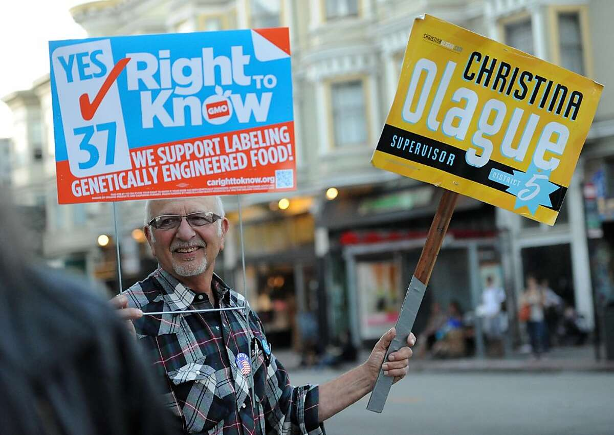 Former Mayor of Fairfax Frank Eggar campaigns on the corner of Haight and Fillmore in San Francisco on November 6, 2012.
