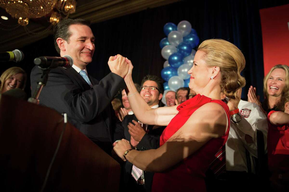 Republican candidate for U.S. Senate Ted Cruz celebrates with his wife Heidi during an election night watch party at the Hilton Post Oak hotel on Tuesday, Nov. 6, 2012, in Houston. Cruz defeated Democrat Paul Sadler to replace retiring U.S. Sen. Kay Bailey Hutchison.
