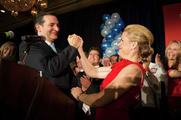 Republican candidate for U.S. Senate Ted Cruz celebrates with his wife Heidi during an election night watch party at the Hilton Post Oak hotel on Tuesday, Nov. 6, 2012, in Houston. Cruz defeated Democrat Paul Sadler to replace retiring U.S. Sen. Kay Bailey Hutchison. Photo: Smiley N. Pool, Houston Chronicle / © 2012  Houston Chronicle
