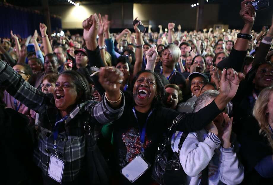 Supporters of U.S. President Barack Obama cheer during the Obama Election Night watch party at McCormick Place November 6, 2012 in Chicago, Illinois. Obama is going for reelection against Republican candidate, former Massachusetts Governor Mitt Romney. Photo: Chip Somodevilla, Getty Images