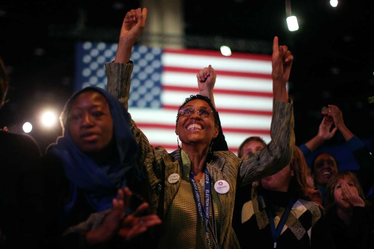 Supporters of President Barack Obama cheer during the Obama Election Night watch party at McCormick Place November 6, 2012 in Chicago, Illinois. Obama is going for reelection against Republican candidate, former Massachusetts Governor Mitt Romney.