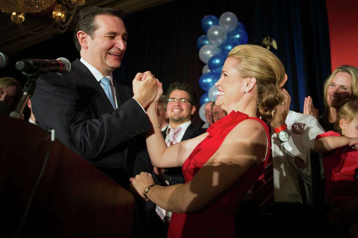 Senator-elect Ted Cruz celebrates with his wife Heidi during an election night watch party Tuesday at the Hilton Post Oak hotel in Houston. Cruz easily defeated Democrat Paul Sadler.