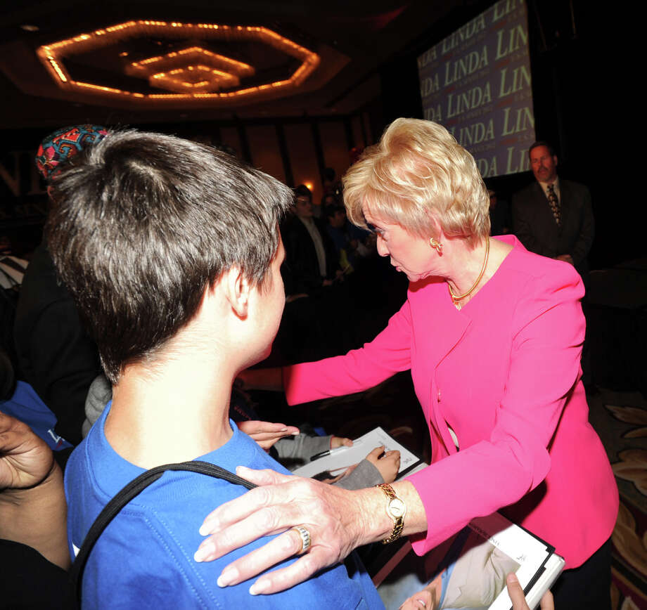 Republican Linda McMahon shakes hands with supporters after giving her concession speech in the race for U.S. Senate on election night at the Hilton Stamford Hotel, Conn.,Tuesday night, November 6, 2012. McMahon was defeated by Democrat Chris Murphy. Photo: Bob Luckey / Greenwich Time