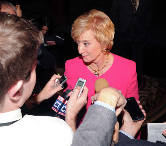 Republican Linda McMahon speaks with reporters after giving her concession speech in the race for U.S. Senate on election night at the Hilton Stamford Hotel, Conn.,Tuesday night, November 6, 2012. McMahon was defeated by Democrat Chris Murphy. Photo: Bob Luckey / Greenwich Time