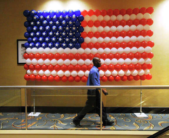 An American Flag made of red, white and blue balloons attached to a wall during the Linda McMahon for U.S. Senate gathering at the Hilton Stamford Hotel, Conn.,Tuesday night, November 6, 2012. Photo: Bob Luckey / Greenwich Time
