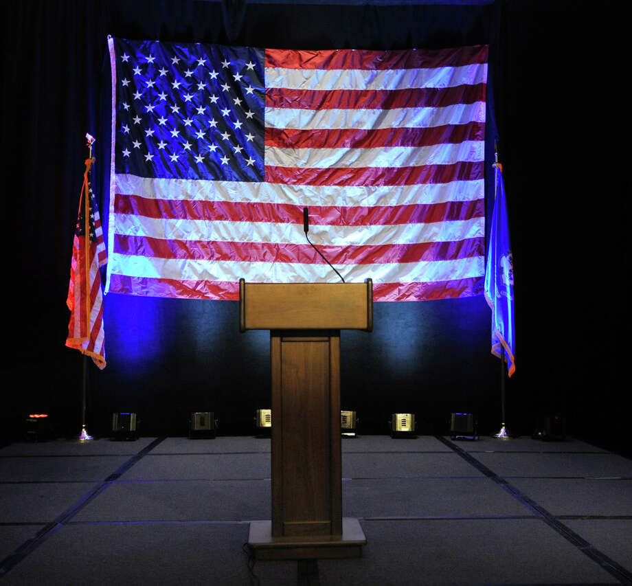 An empty podium awaits either a victory spech or concession speech from Linda McMahon on election night at the Hilton Stamford Hotel, Conn.,Tuesday night, November 6, 2012. Photo: Bob Luckey / Greenwich Time