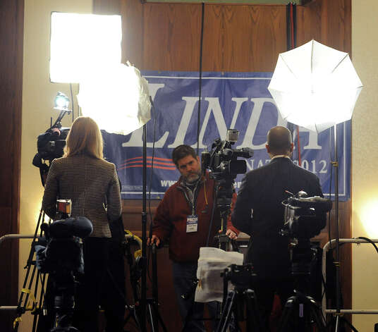 Television news crews do live shots during the Linda McMahon for U.S. Senate gathering on election night at the Hilton Stamford Hotel, Conn.,Tuesday night, November 6, 2012. Photo: Bob Luckey / Greenwich Time