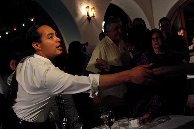 Mayor Julian Castro thanks his supporters and staff as results for the Pre-K 4 SA campaign come in during the election watch party at La Fonda on Main in San Antonio on Tuesday, Nov. 6, 2012. Photo: Lisa Krantz, San Antonio Express-News / © 2012 San Antonio Express-News