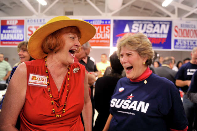 District Court 166 Judicial candidate Stephani Walsh (left) shares a laugh with Sheriff candidate Susan Pamerleau at the GOP Election Watch party Tuesday night, Nov. 6, 2012. Photo: Robin Jerstad, For The Express-News