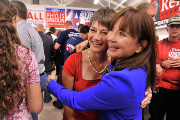 State Senate candidate Dr. Donna Campbell (left) gets a hug from Dr. Dora Cantu at the GOP Election watch party Tuesday evening, Nov. 6, 2012. The two of them did their residency together. Photo: Robin Jerstad, For The Express-News