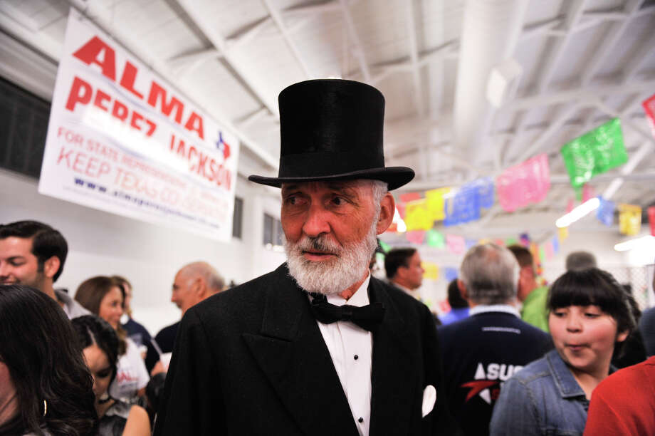 Edward Vasut of Ellinger, Tx. dressed as Abraham Lincoln while attendig the GOP Election Night Watch party Tuesday, Nov. 6, 2012. Photo: Robin Jerstad, For The Express-News