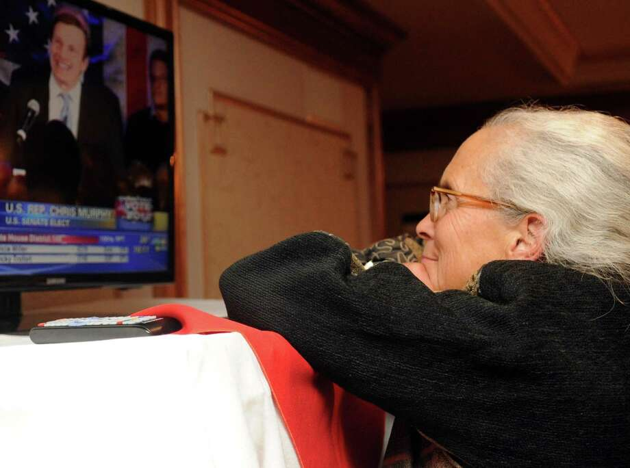 Betsi Shays watches election results come in at the Norwalk Inn in Norwalk, Conn., with supporters of Republican candidate for U.S. Senate Steve Obsitnik on Tuesday, November 6, 2012. Photo: Lindsay Niegelberg / Stamford Advocate
