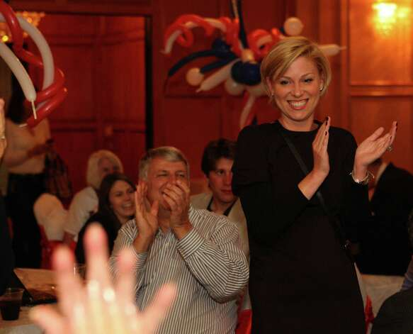 State House District 134 Rep. Sarah Davis thanks her supporters Tuesday night during her watch party at The Meridian in Houston. The incumbent got attention for breaking ranks with the GOP in her first term. Photo: James Nielsen, Staff / © Houston Chronicle 2012