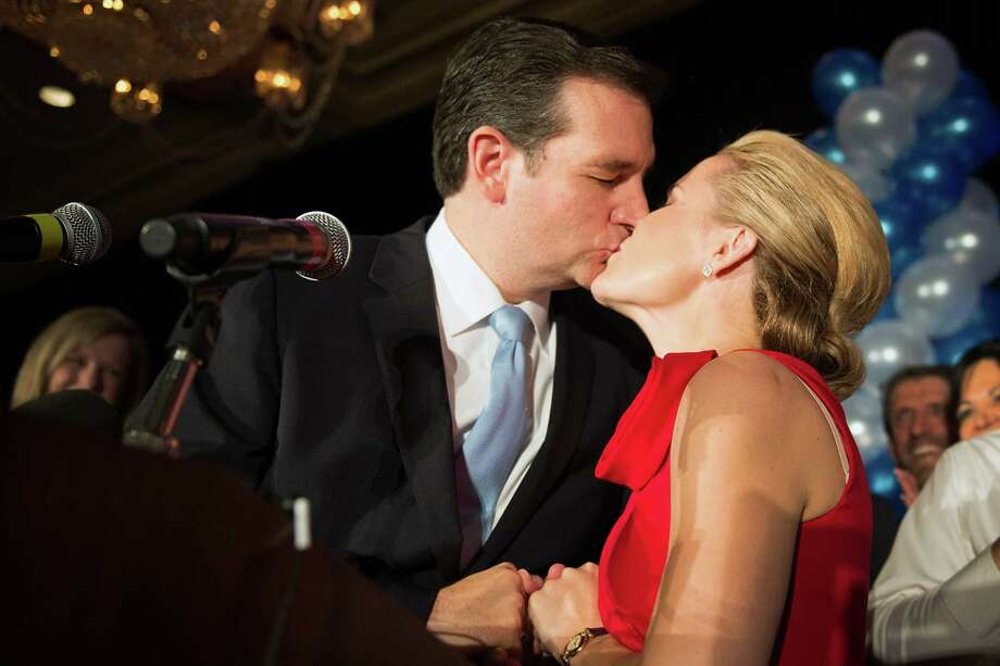 Republican candidate for U.S. Senate Ted Cruz kisses his wife Heidi during an election night watch party at the Hilton Post Oak hotel on Tuesday, Nov. 6, 2012, in Houston. Cruz defeated Democrat Paul Sadler to replace retiring U.S. Sen. Kay Bailey Hutchison. Photo: Smiley N. Pool, Houston Chronicle / © 2012  Houston Chronicle