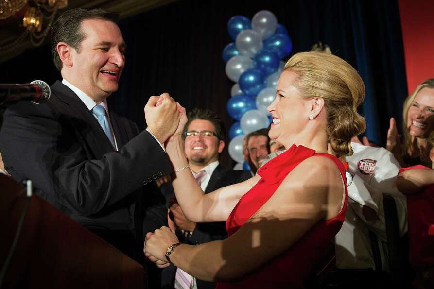Republican candidate for U.S. Senate Ted Cruz celebrates with his wife Heidi during an election nigh
