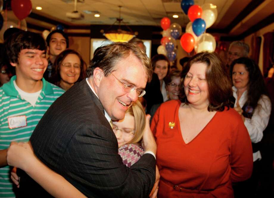 U.S. Rep. John Culberson with his daughter, Caroline Culberson, 12, and  his wife, Belinda Culberson, right,  at election watch party at Maggiano's, 2019 Post Oak Blvd.,  Tuesday, Nov. 4, 2008, in Houston. ( Melissa Phillip / Chronicle ) Photo: Melissa Phillip, Chronicle / Houston Chronicle