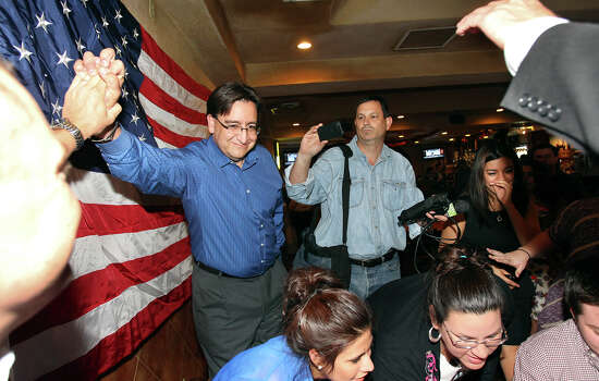 Pete Gallego starts to take congratulations after hearing results that clinched his victory during the election night watch party for State Representative Pete Gallego, D-Alpine, who is challenging U.S. Representative Francisco Canseco for his seat in the U.S. House District 23  on November 6, 2012. Photo: Tom Reel, San Antonio Express-News / ©2012 San Antono Express-News