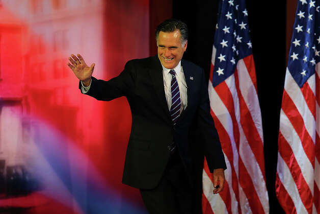 BOSTON, MA - NOVEMBER 07: Republican presidential candidate, Mitt Romney, waves to the crowd before conceding the presidency during Mitt Romney's campaign election night event at the Boston Convention & Exhibition Center on November 7, 2012 in Boston, Massachusetts. After voters went to the polls in the heavily contested presidential race, networks projected incumbent U.S. President Barack Obama has won re-election against Republican candidate, former Massachusetts Gov. Mitt Romney. Photo: Joe Raedle, Getty Images / 2012 Getty Images