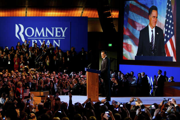 BOSTON, MA - NOVEMBER 07:  Republican presidential candidate, Mitt Romney, speaks at the podium as he concedes the presidency during Mitt Romney's campaign election night event at the Boston Convention & Exhibition Center on November 7, 2012 in Boston, Massachusetts. After voters went to the polls in the heavily contested presidential race, networks projected incumbent U.S. President Barack Obama has won re-election against Republican candidate, former Massachusetts Gov. Mitt Romney. Photo: Matthew Cavanaugh, Getty Images / 2012 Getty Images