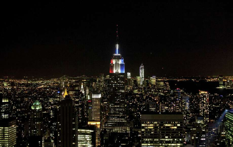 The Empire State Building is lit red white and blue for election night November 6, 2012 in New York City. Voters went to polls in the heavily contested presidential race between incumbent U.S. President Barack Obama and Republican challenger Mitt Romney. Photo: Allison Joyce, Getty Images / 2012 Getty Images