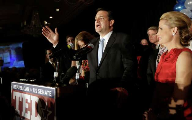 Republican candidate for U.S. Senate Ted Cruz delivers his victory speech as he is joined on stage by his wife Heidi, right, Tuesday, Nov. 6, 2012, in Houston. Cruz defeated Democrat Paul Sadler to replace retiring U.S. Sen. Kay Bailey Hutchison. (AP Photo/David J. Phillip) Photo: David J. Phillip, Associated Press / AP