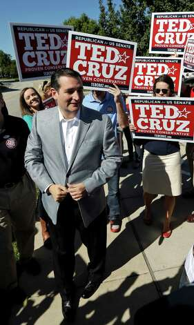 Republican candidate for U.S. Senate Ted Cruz arrives outside a polling location to talk to the media Tuesday, Nov. 6, 2012, in Houston. Cruz is running against Democrat Paul Sadler to replace retiring U.S. Sen. Kay Bailey Hutchison. (AP Photo/David J. Phillip) Photo: David J. Phillip, Associated Press / AP