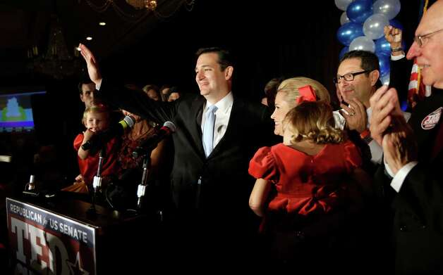 Republican candidate for U.S. Senate Ted Cruz thanks the crowd during a victory speech as he is joined on stage by his wife Heidi, right, Tuesday, Nov. 6, 2012, in Houston. Cruz defeated Democrat Paul Sadler to replace retiring U.S. Sen. Kay Bailey Hutchison. (AP Photo/David J. Phillip) Photo: David J. Phillip, Associated Press / AP