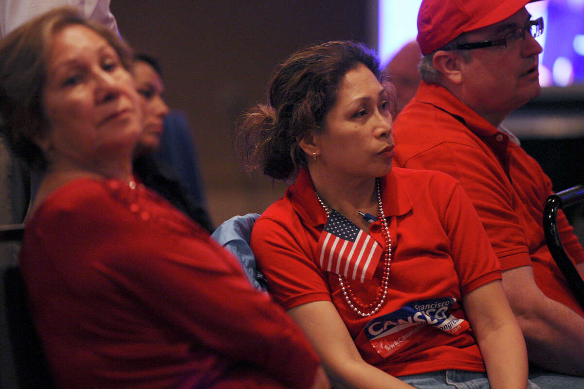 """Supporters from left, Reina Claudio, Aya and Ralph Celento wait for U.S. Rep. Francisco """"Quico"""" Canseco at a campaign rally at the Holiday Inn Airport on Election Night, Tuesday, Nov. 6, 2012. Canseco headed up to a """"war room,"""" to watch the election results. He is scheduled to meet with supporters later on in the evening. Canseco is in a race with Democrat St. Rep. Pete Gallego, D-Alpine."""