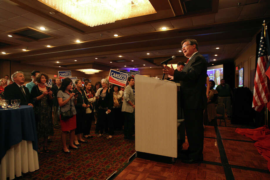 "U.S. Rep. Francisco ""Quico"" Canseco arrives at a campaign rally at the Holiday Inn Airport on Election Night, Tuesday, Nov. 6, 2012. Canseco didn't concede the race and said it was too early to call it. Canseco then headed up to a ""war room,""  to watch the election results. Canseco is in a race with Democrat St. Rep. Pete Gallego, D-Alpine. Photo: Jerry Lara, San Antonio Express-News / © 2012 San Antonio Express-News"