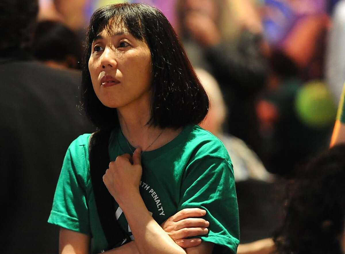 Yoko Otani-Spurlin awaits results from proposition 34 at Jillian?•in San Francisco on November 6, 2012.
