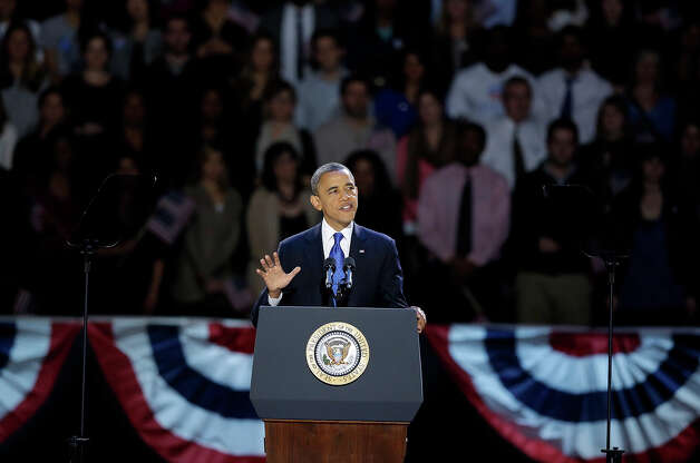 President Barack Obama speaks at his election night party Wednesday, Nov. 7, 2012, in Chicago. President Obama defeated Republican challenger former Massachusetts Gov. Mitt Romney. Photo: AP