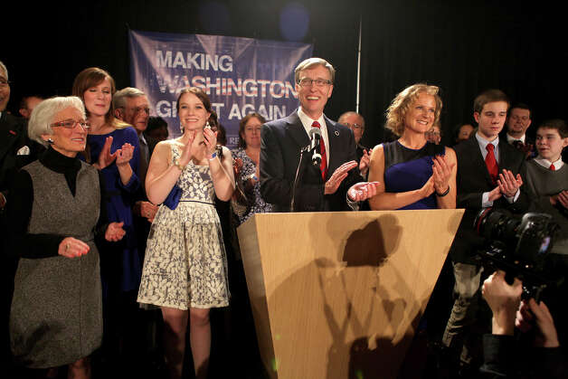 Rob McKenna speaks to the crowd with the support of family and friends during the Washington State Republican Party's 2012 Election Night Party Nov. 6, 2012 at the Bellevue Hyatt in Bellevue, Wash. (Photo by Cliff DesPeaux for seattlepi.com) Photo: CLIFF DESPEAUX, / / FOR SEATTLEPI.COM