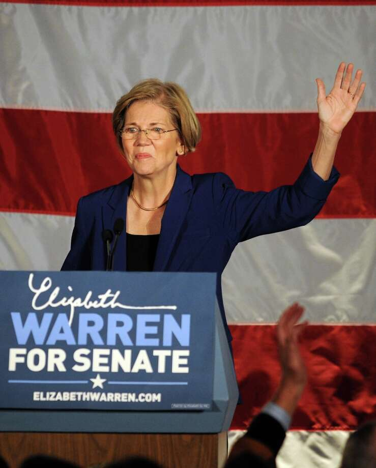 BOSTON, MA - NOVEMBER 6: Elizabeth Warren takes the stage for her acceptance after beating incumbent U.S. Senator Scott Bown at the Copley Fairmont November 6, 2012 Boston, Massachusetts. The campaign was highly contested and closely watched and went down to the wire. Photo by Darren McCollester/Getty Images) Photo: Darren McCollester, Getty Images / 2012 Getty Images
