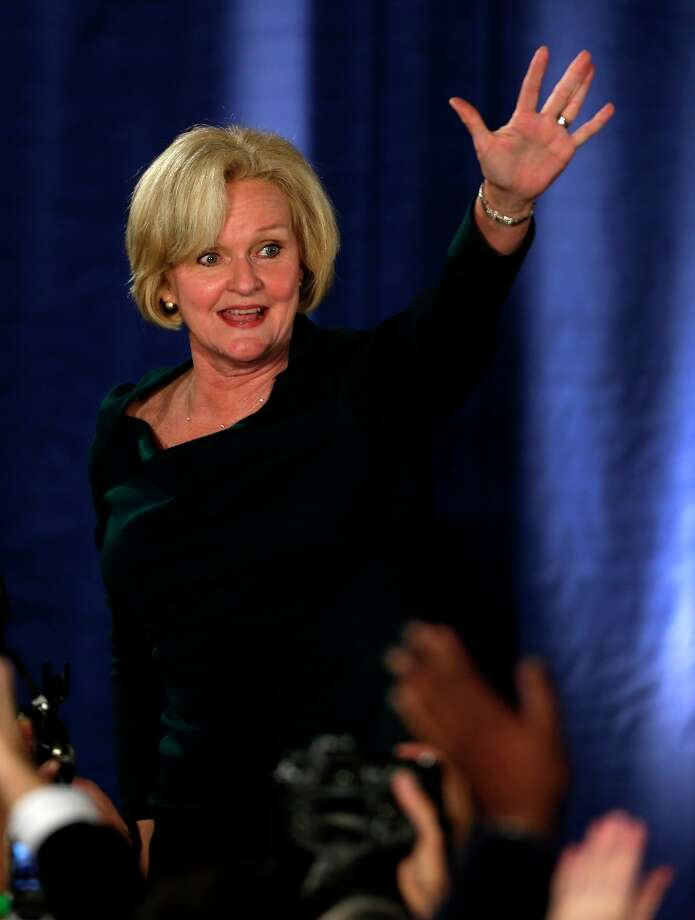 Sen. Claire McCaskill, D-Mo., waves to supporters after declaring victory over challenger Rep. Todd Akin, R-Mo., in the Missouri Senate race Tuesday, Nov. 6, 2012, in St. Louis. (AP Photo/Jeff Roberson) Photo: Jeff Roberson, Associated Press / AP