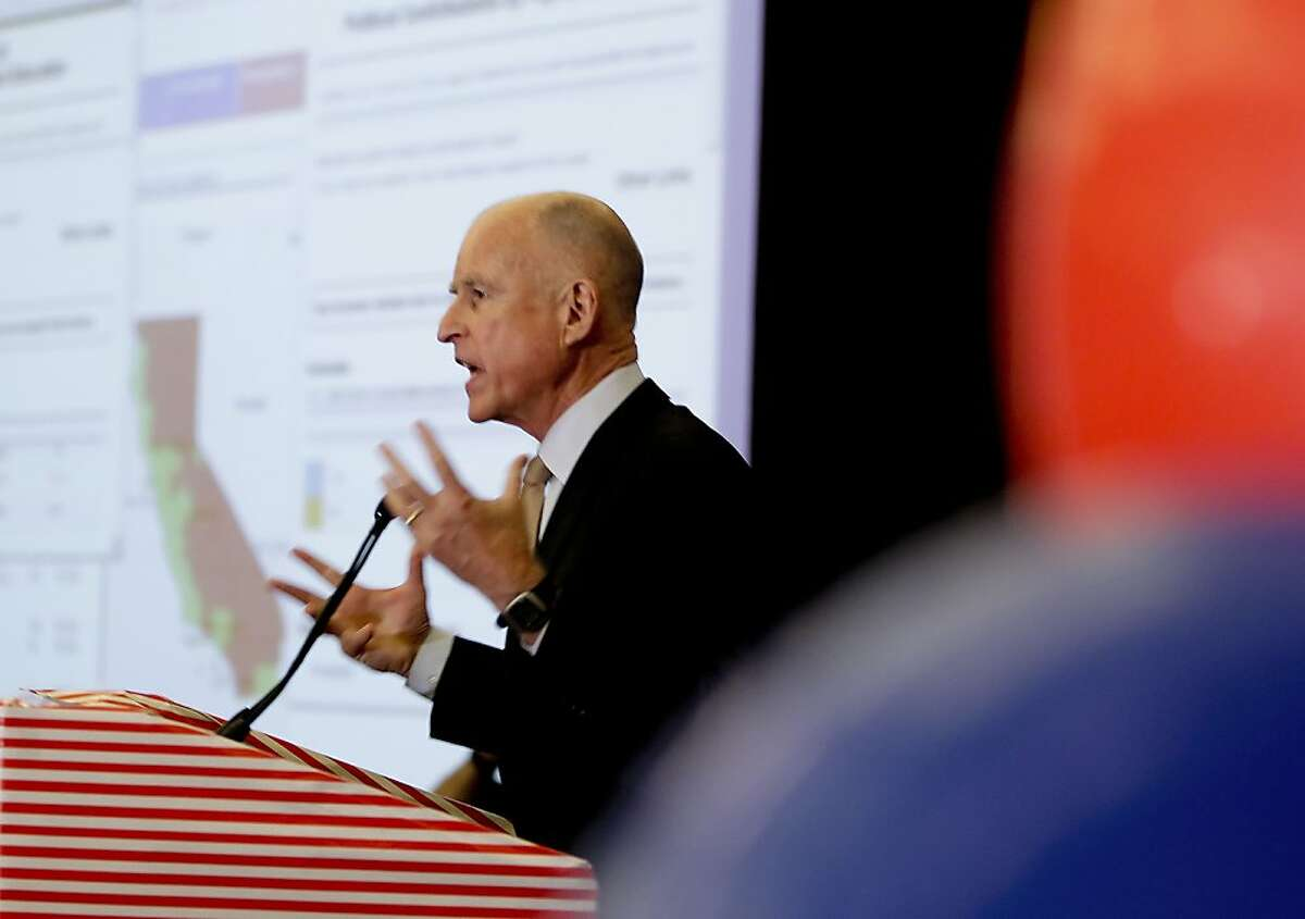 California Governor Jerry Brown joins supporters of the