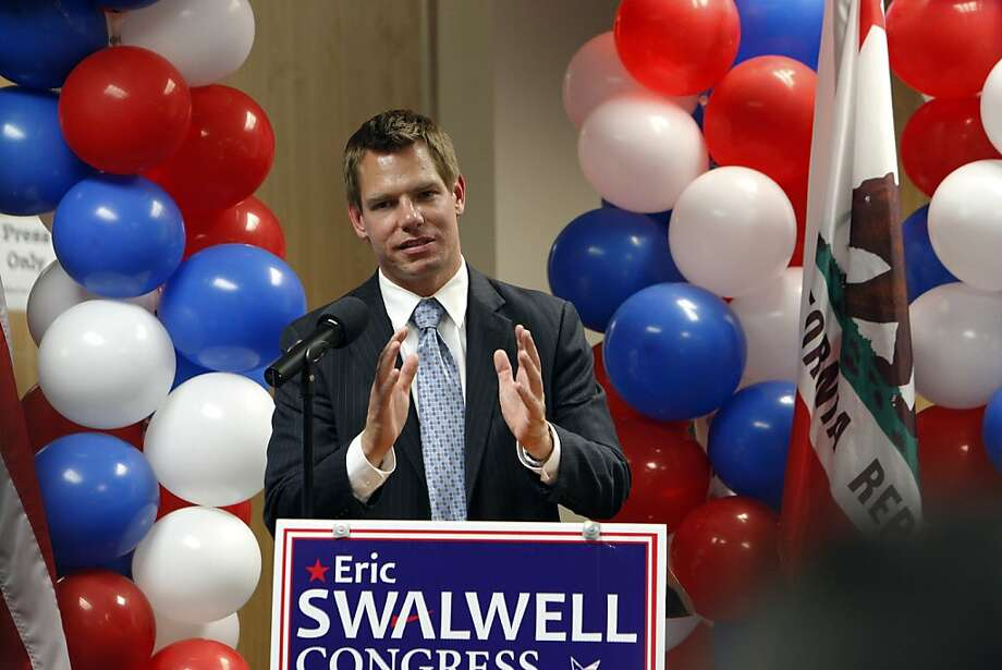 Eric Swalwell, who ousted longtime Rep. Pete Stark, talks at a Pleasanton election night party. Photo: Carlos Avila Gonzalez, The Chronicle