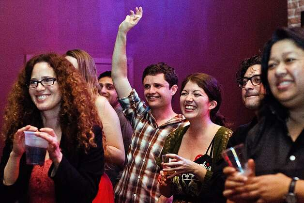 Supporters of District 5 Supervisor Christina Olague react to her speech at her election night party at Rasselas Jazz Club in San Francisco, California on November 6, 2012. Photo: Alvin Jornada, Special To The Chronicle