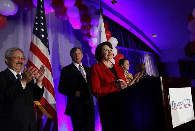 Senator Dianne Feinstein speaks at her victory party on election night at the Fairmont in San Francisco, Calif., Tuesday, November 6, 2012. Photo: Sarah Rice, Special To The Chronicle