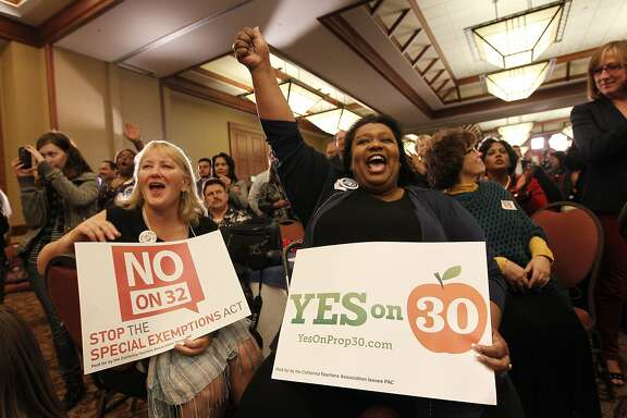 "California Teachers Association members Cynthia Menzel, (left) and Patricia Rucker show their support as they join supporters of  the ""Yes on 30"" and ""No on 32""  campaigns as they gather at the Sheraton Grand hotel in downtown in Sacramento, Calif., on Tuesday Nov. 6, 2012, to watch election night returns."