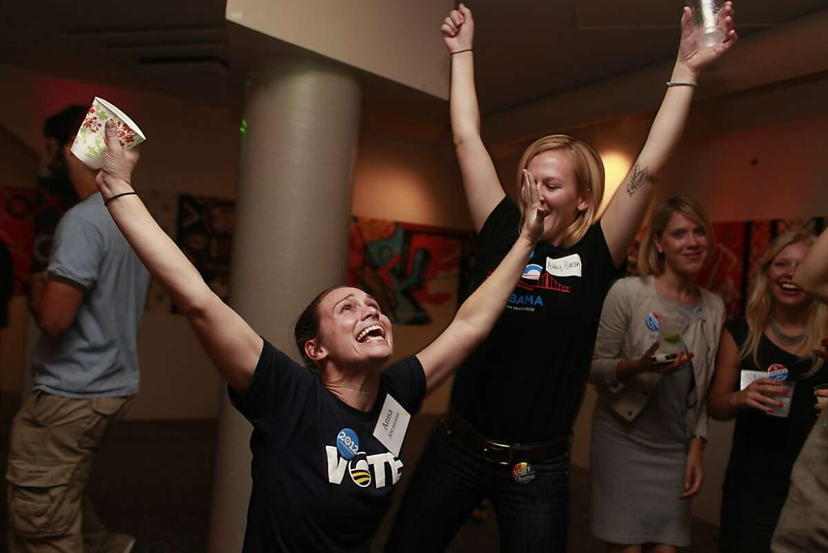At an election party for the Democratic Party in San Francisco, Anna Abramson and Ashley Hanson hit the dance floor after President Barack Obama wins a second a second term on Tuesday Nov. 6, 2012 in San Francisco, Calif.