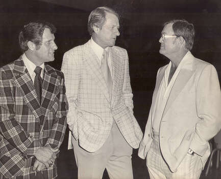 From left: Texas A&M head coach Emory Ballard, Arkansas coach Frank Broyles and Texas coach Darrell Royal circa 1975.