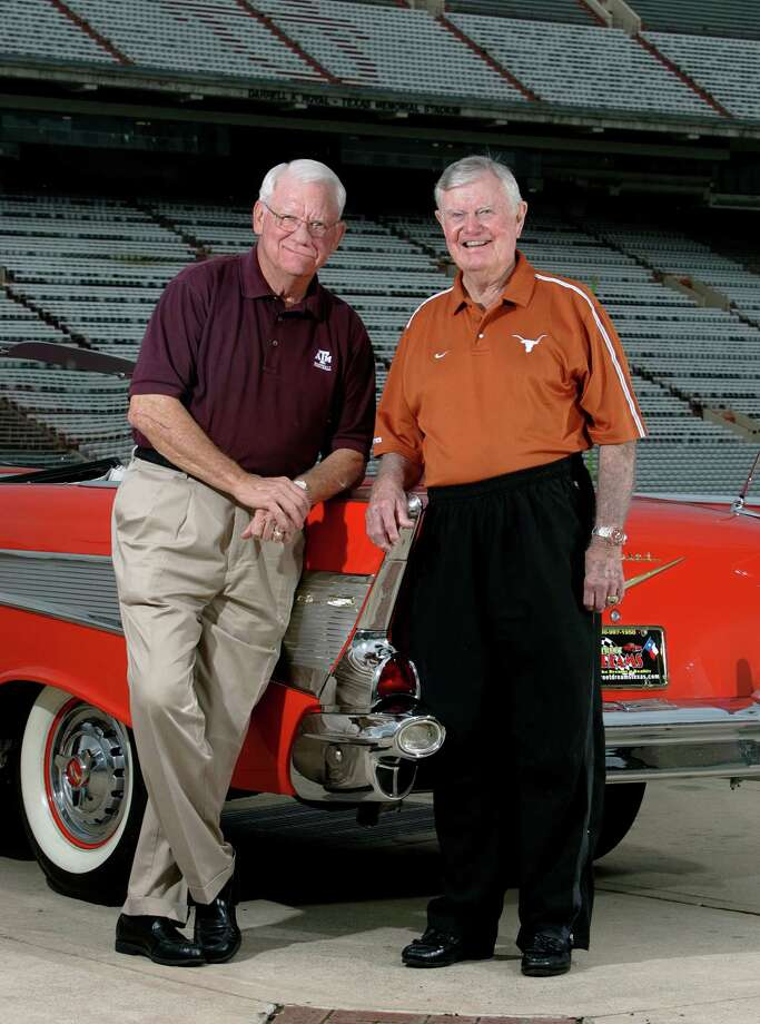 UT Coach Darrell Royal and Texas A&M Heisman Trophy winner John David Crow shown in Austin, Texas Thursday June 28, 2007 with a 1957 Chevy Belair. KEVIN GEIL/STAFF Photo: KEVIN GEIL, SAN ANTONIO EXPRESS-NEWS / SAN ANTONIO EXPRESS-NEWS