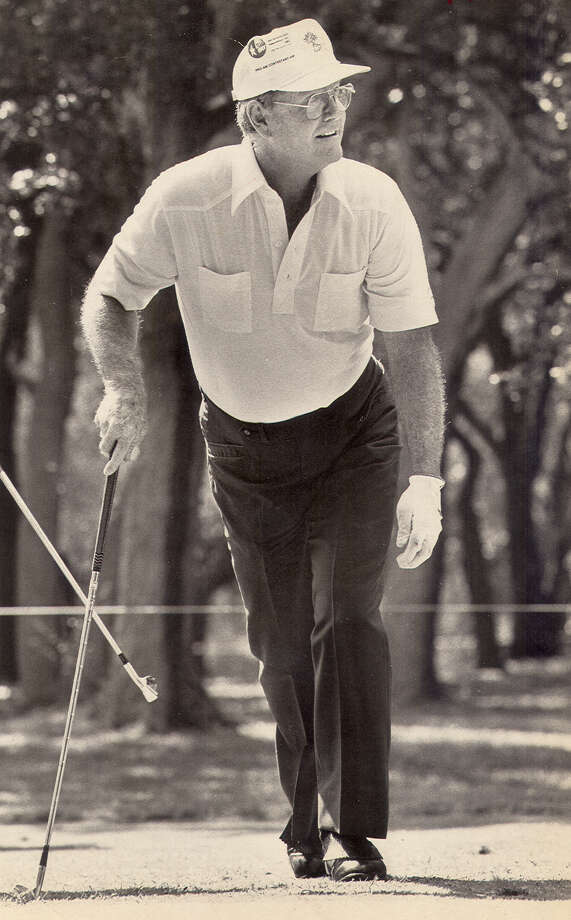 Darrell Royal at the No. 9 tee of the 1982 Texas Pro Am.