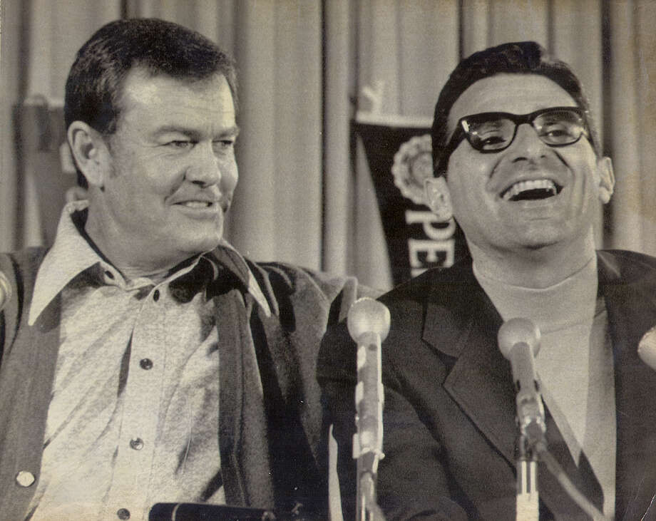 Dec. 29, 1971 ... Darrell Royal gets a laugh out of Joe Paterno during a pre-game press conference before Texas and Penn State were to meet in the Cotton Bowl on New Years Day.