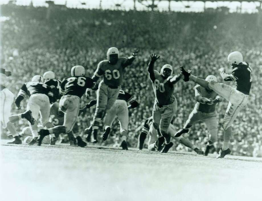 Darrell Royal, punting for Oklahoma as a player in the 1950 Sugar Bowl.